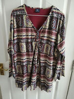 ETAM WOMENS RED MAROON GREEN PAISLEY V NECK TOP LONG SLEEVE SIZE 18 PIT - PIT 22