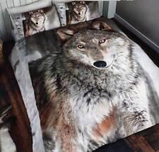Bettwäsche Wolf 3D Effekt Aufdruck Fotodruck Bettgarnitur Tier 135x200/ 50x75cm