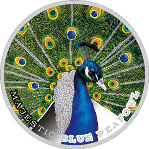 Majestic Blue Peafowl - Beauty and Power Plain Silver Coin 2$ Niue 2019