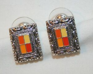 """Peach & Yellow Swirled """"Picture Frame"""" CLIP Earrings  ++++"""
