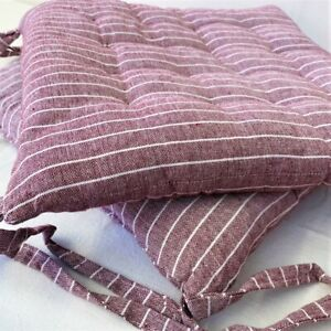 Mauve Chalk Stripe Seat Pad with Ties Luxury Cotton Large Chair Garden