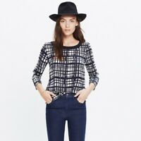Madewell Women's Size S Blue Retrospect Plaid 100% Silk Brushstroke Top Shirt