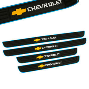 X4 BLUE Border Rubber Door Scuff Sill Cover Panel Step Protector for CHEVROLET