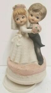 """Vintage Ceramic """"BRIDE AND GROOM"""" musical, plays Here Comes the Bride"""
