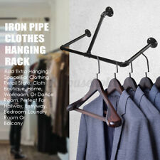 Industrial Wall Mounted Clothes Rack T-Bar Pipe Coat Hanger Garment Storage