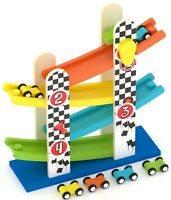 Wooden Race Track Helter Skelter Frame with 4 Cars Toy Ramp Garage Slider Track
