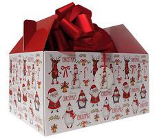Giant Scatola Regalo di Natale spiovente Kit-Box, tessuto, Fiocco & Tag-Babbo Natale Pupazzo Di Neve Rudolph