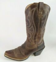 Ariat Ladies Round Up D-Toe Western Boots Distressed Brown 9.5 B #10011953