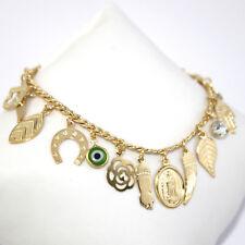 """14k Gold Filled Bracelet Mega Lucky Charms Evil Eye Protection 7.5"""" Suerte Oro"""