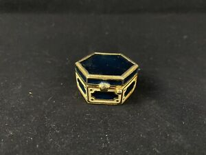Vintage Estee Lauder Royal Blue Enamel Gold Color Trinket Pill Box