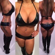 Connie's (Go GO Dancer) Black Wet Look Two Piece Set shorts and Bikini top   OS