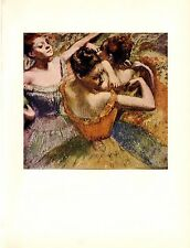 "1957 Vintage Full Color Art Plate ""DANCERS"" by Degas Lithograph"
