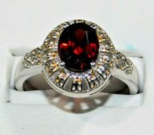 Red Zircon Ring Size 9 Sterling Silver 925