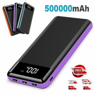 500000mAh External Portable Charger Power Bank with LED Display  3USB Battery
