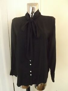 M&S BLACK LONG SLEEVE TIE NECK PUSSY BOW BLOUSE TOP SIZE 8 LADIES BNWT RP £27