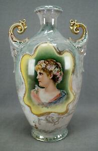 ES Prussia Blonde Lady Portrait Green & Purple Luster & Gold Vase C. 1902-1938