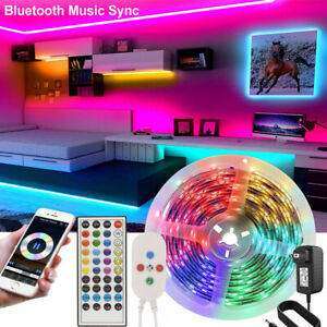 32.8FT Led Strip Lights 5050 RGB Bluetooth Room Light Color Changing with Remote