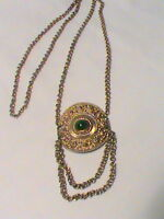 Vintage Gold Tone with Green Stone Medallion Pendant Necklace
