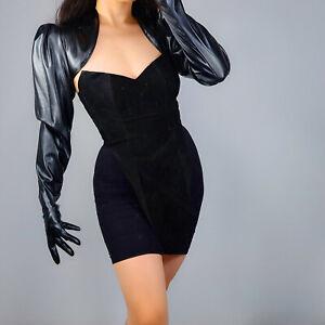 TECH BOLERO GLOVES Faux Leather Black Top Jacket Crop Shrug Jumper Big Sleeves L