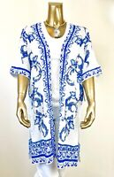 CHICO'S $139 NWT SIZE 1 BLUE FLORAL OPEN-FRONT LONG-CARDIGAN JACKET (M)