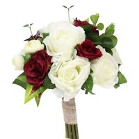 Handmade Rustic Wedding Bouquet: Burgundy and Ivory Cream Roses with Burlap Lace