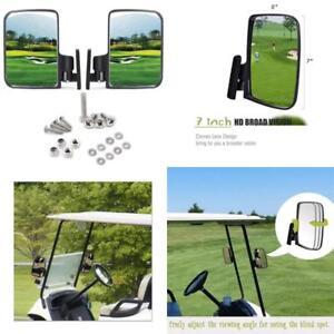 Golf Cart Side Mirror Universal Mount Rear View Fold In For Club Car EZGO Yamaha