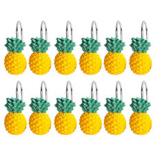 Yellow Pineapple Shower Curtain Hooks for Bathroom Kids Room 12 Pack