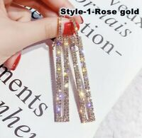 Crystal Rhinestone Micro Pave Hoop Earrings with Rectangle Dangle Drop Earrings.