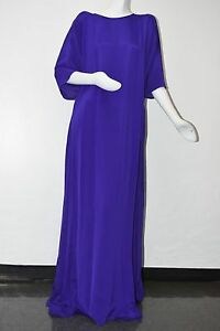 New Oscar de la Renta Dk Purple VIOLET Silk Caftan Gown Dress Kaftan S M L