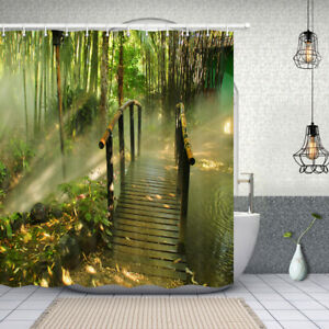Asian Zen Decor Shower Curtain Japanese Bamboo Forest Bath Curtains 71X71 Inch