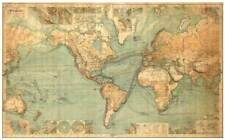 THE WORLD, Large Vintage Map Reproduction Rolled CANVAS 24x36 inches Poster Z225