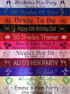 PERSONALISED PARTY/HEN SASH PRINTED ON BOTH SIDES FRONT & BACK - FREE POSTAGE