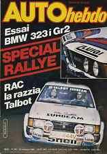 AUTO HEBDO n°243 du 27 Novembre 1980 BMW 323i Gr 2 Alfa Romeo GTV6 RAC Rallye
