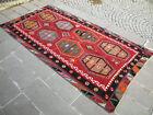 "Antique Turkish Kilim 63"" x 118"" Hand Woven Wool Sarkisla Rug 160 cm x 300 cm"
