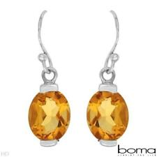 Citrine 4.50ctw Oval Shape Dangle Earrings in SSilver