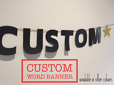 ANY WORDING CUSTOM PERSONALISED PARTY BANNER DECORATION. BOLD BLACK LETTER, GOLD
