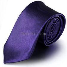 Casual Solid Plain of 3 Pure Colors Skinny Jacquard Woven Silk Men's Tie Necktie