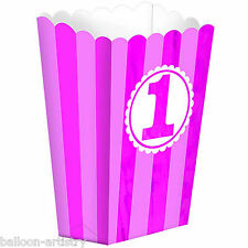 5 Popcorn Stripes Pink Girl's 1st Birthday Party Gift Treat Paper Favour Boxes