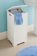 Crisp White Finish Wooden Laundry Storage Unit Wooden Laundry Hamper Organizer