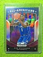 ZION WILLIAMSON PRIZM ROOKIE REFRACTOR CARD JERSEY #1 DUKE  2019 PELICANS PURPLE