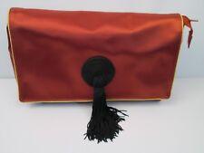 Vintage YSL Yves Saint Laurent Rust Gold Cosmetic Makeup Bag Pouch Clutch Tassel