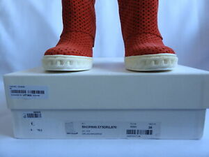 CASADEI New LEATHER Suede Perforated Orange Red Wedge Sneaker Boots 38 8 Italy