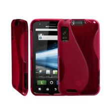 housse étui coque silicone en gel rose fuchsia pour Motorola Atrix + film de pro