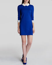 TED BAKER Currie Blue Embroidered White Lace Collar Tunic Dress Size 1 UK 8