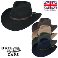 Cowboy Hat 100% Wool Crushable Stetson Western Style Outback Fedora 8cm Brim