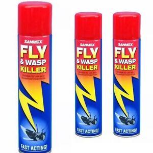 3x Sanmex Fly and Wasp Killer Fast Acting Aerosol Spray 300ml