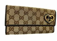 Auth GUCCI GG Logo Pattern Canvas Leather long Wallet Heart Italy 60016704