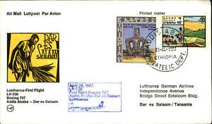 LUFTHANSA Erstflug 1st Flight 1982 Addis Ababa Dar Es Salaam Flugnummer LH 538