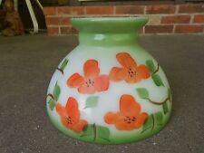Vintage Hand Painted Hurricane Lamp Shade/Globe Orange Flowers White wGreen Trim