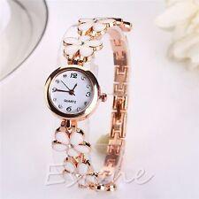 Crystal Flower Ladies Women Bracelet Watch Dial Quartz Wrist Watch Free pouch UK